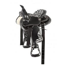 Okrašeno western sedlo PFIFF, pony, zebra vzorec