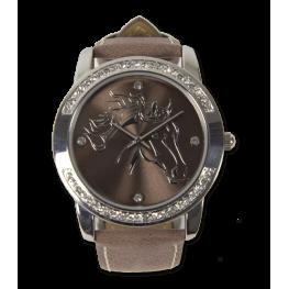 Ženska ročna ura z motivom KONJA, rjava